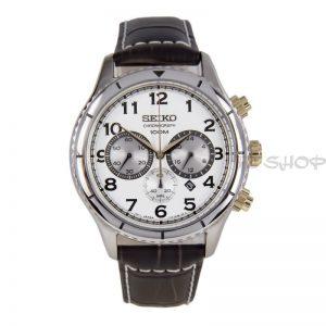 Montre chronographe SEIKO SRW039P1, bracelet marron en cuir, mouvement Quartz avec date
