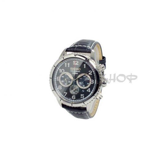Montre chronographe SEIKO SRW037P2, bracelet noir en cuir, mouvement Quartz avec date