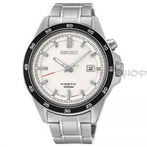 Montre homme Kinetic SEIKO SKA639P1 à mouvement Quartz avec dateur, cadran blanc, anneau noir