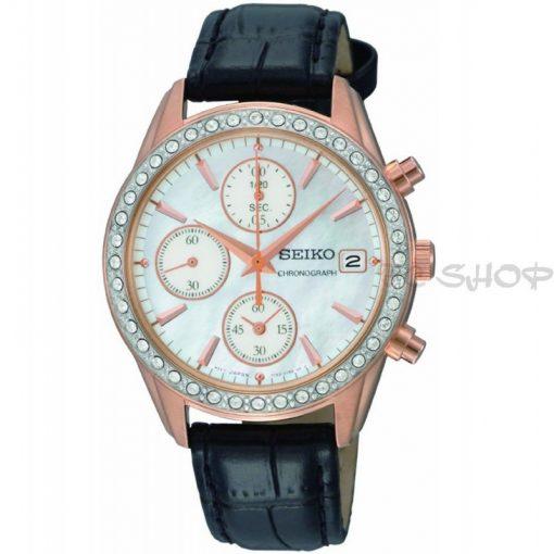 Montre chronographe femme SEIKO SNDY14P9 mouvement Quartz boitier rosé cadran blanc
