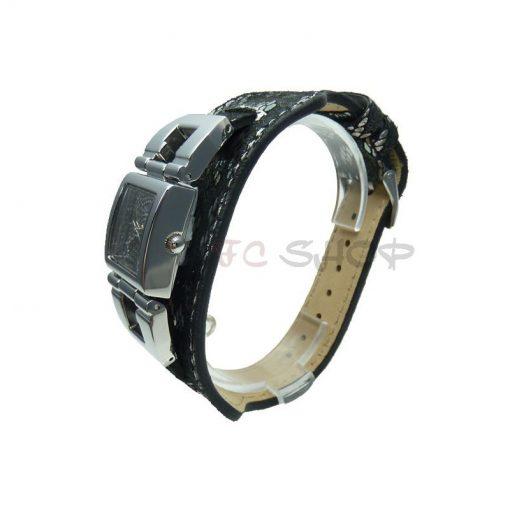 Montre analogique femme GUESS W0054L1 collection G CUFF mouvement quartz bracelet cuir noir
