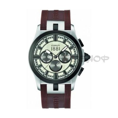 Montre chronographe CERRUTI CRA076SB07 Collection Moltrasio bracelet silicone marron cadran gris multifonctions