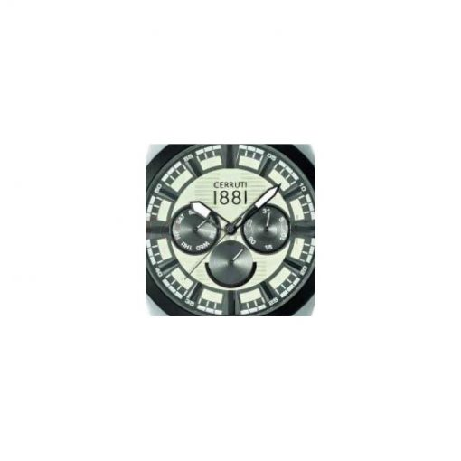 Montre chronographe CERRUTI CRA076SB07 Collection Moltrasio bracelet silicone marron cadran gris multifonctions