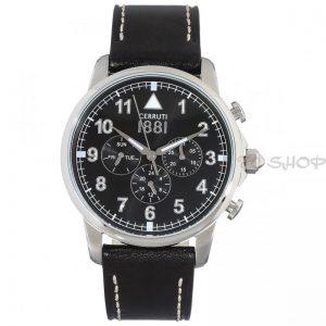 Montre chronographe CERRUTI 1881 CRA081A222G Collection Terra bracelet cuir noir cadran noir multifonctions