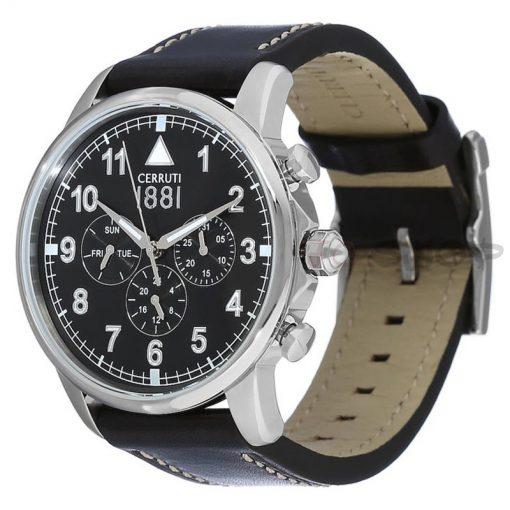 Montre chronographe CERRUTI 1881 CRA081A222G Collection Terra bracelet cuir noir cadran noir