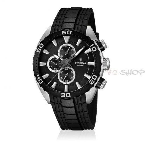Montre homme FESTINA F16664_4 Sport chronographe, cadran noir et col argenté, bracelet silicone noir