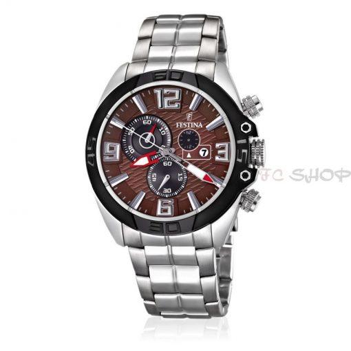 Montre homme FESTINA F16583_2 Casual chronographe, cadran marron et col. argenté, bracelet acier